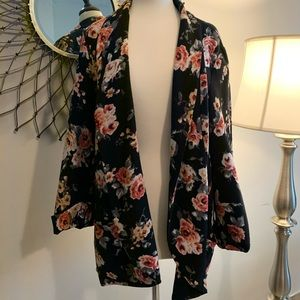 Black Rainn long black blazer with rose pattern